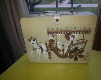 """Vintage 1960s Japan Enid Collins Style """"Sophistikit"""" Jeweled Carriage Large Wooden Handled Purse"""