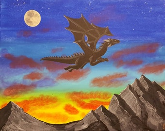 "Original Acrylic Painting - ""Dragon Into The Sunset"" - Unique Acrylic Art on 16x20 canvas"