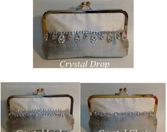 Two Tone Bridal Clutch or Bridesmaids Clutch Dupioni Silk with Rhinestone Trim