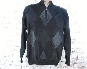 men's black grey sweater - men's Argyle sweater - Men's long sleeve sweater -zip neck sweater - Rugby Style Sweater - size Medium    #2
