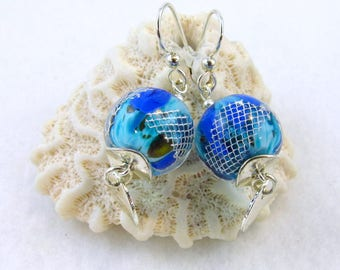 GEORGEOUS Artisan Lampwork Glass and Silver Earrings  (ER461)