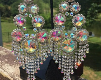 Large Chandelier Earrings | Long Chandelier Earrings | Huge Chandelier Earrings | Long Pageant Earrings | Statement Earrings