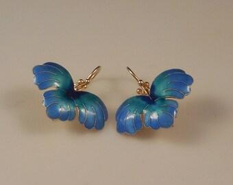 Rare Vintage Early 1970s Laurel Burch Cloisonné Enamel Tropical Leaf Pierced Earrings Sterling Silver