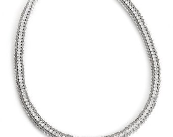 Infinite Silver Circle Necklace Fully Encrusted WIth Swarovski Crystals