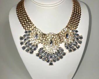 Statement Necklace, Rhinestone Necklace, Bib Necklace, Trendy Necklace, Special Occasion Jewelry, Fashion Jewelry