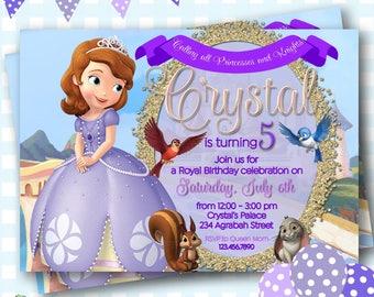 Princess Sofia Invitation, Sofia the First Birthday Invitations, Princess Invitation, Princess Sofia Invite, Sofia Birthday Party - P856