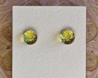 Dichroic Glass Earrings, Petite, Lemon Yellow  DGE-1360
