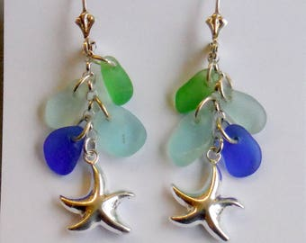 Genuine Sea Glass & Sterling Silver Lever Back Starfish Dangle Earrings, Shades of Soft Blue and Green