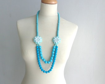 Blue turquoise long necklace, flower necklace, long flower necklace, romantic necklace