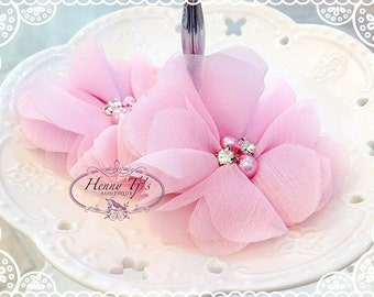 """NEW: 3"""" inch TWO Aubrey BABY Pink- Soft Chiffon with pearls and rhinestones Mesh Layered Small Fabric Flowers, Hair accessories"""