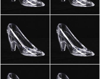 Six (6) Cinderella Glass Slipper 6.75 inch Large Acrylic Slipper, Cake Topper, Party Favor