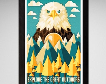 Explore the Great Outdoors Eagle Print 11x17