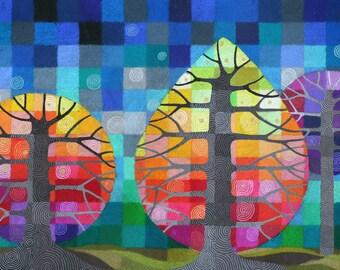 Backyard with Fireflies II print, with handpainted details
