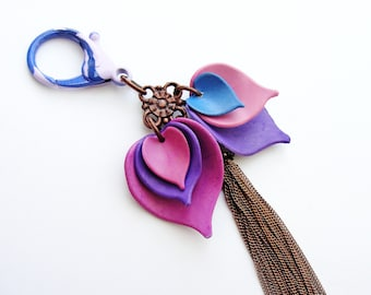 Purple and Lilac Leaves Keychain / Bag Adornment