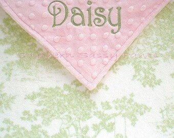 Personalized Baby Security Blanket - Lovie Size , Toile Minky Baby Blanket , Cottage Chic Baby Gift