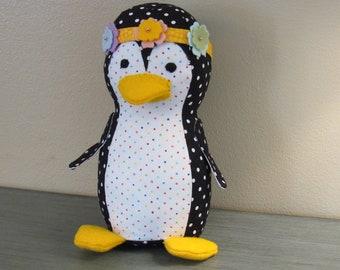 Penquin for Peace, Flower Power Penquin, cute hippy softie, , stuffed animal,
