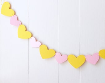 Nursery Wall Accent / Heart Garland / Wedding Decoration / Love Bunting / Love Decor / Photo Prop / Heart Bunting / Yellow and Pink