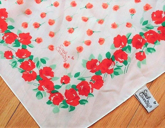 Sarah Coventry Scarf / Rose Print / Floral Designer / Made In Italy