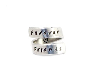 Forever Friends Ring, Best Friends and Sisters Ring, Hand Stamped BFF Gift, Personalized Aluminum Best Friends Forever Adjustable Ring