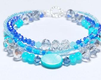 Blue Three Strand Bracelet, Sterling Silver Beaded Bracelet, Blue Bead Bracelet, 925 Silver Toggle Clasp, Beach Style Bracelet, Swarovski
