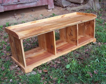 Classic Reclaimed Heart Pine Country Hall  Storage Bench