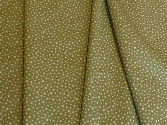 High quality cotton poplin, khaki star print