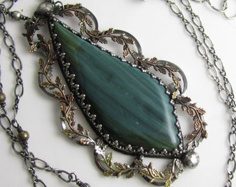 Laurel Leaves and Hummingbird Necklace - Petrified Bog Wood Stone, Sterling Silver and Brass