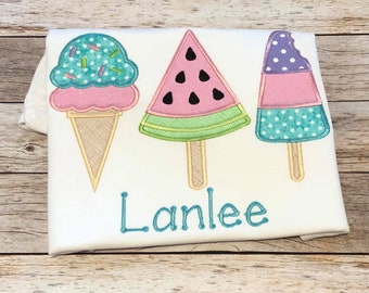 Personalized Popsicle Watermelon Summer Ice Cream Girl Applique Shirt