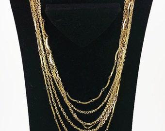 7 Strand Goldtone Beauty of a Necklace