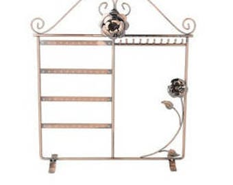 Antique Copper Finished Steel Jewelry Display. Rose Design. 14 x 12 x 4 Inch.