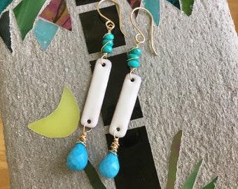 Hand Made Earrings, Enamel / Gemstone Bar Earrings, White / Blue Earrings, Sterling Silver, 14k Gold Filled