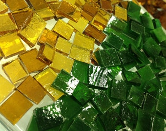 100 CHRISTMAS GREEN & GOLD Transparent Holiday Mix Stained Glass B38