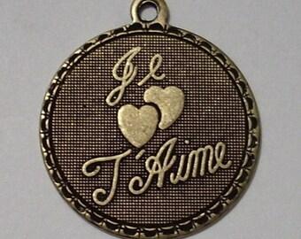 Je T Aime Oxidized Brass Charm or Pendant 19mm