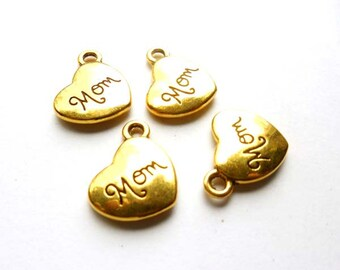 4 Gold Plated Mom Heart Charms - 21-42-12