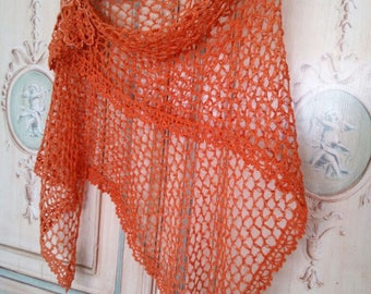 Shawl crocheted linen woman with embroidered flower brooch-orange shrug-elegant style for ceremony
