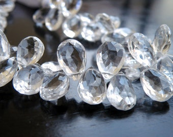 Rock Crystal Quartz Gemstone Briolette Faceted Pear TearDrop 11.5 to 12mm 8 beads