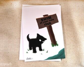 Black Cat at Lake Greeting Card- Suspicious Sammy the Cat Illustration