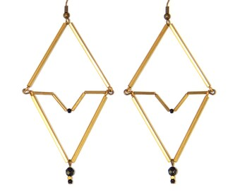 Aztec stone earrings semi precious black agate by Madame Arlette
