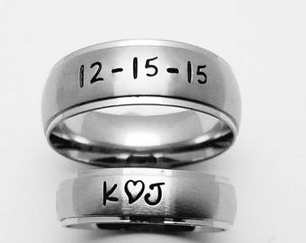Matching set of Personalized Rings, Brushed Finish Stainless Steel Rings, Couples rings, Name rings, Wedding Bands, Promise Rings, His & Her