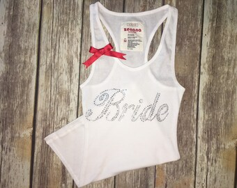 TANK WHIT RIBBON  Size S-L   Bride, Bridesmaid, Maid of honor, mother of the bride  and more S-L