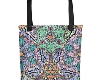 """Flower and Butterfly Tote bag 15"""" X 15"""""""