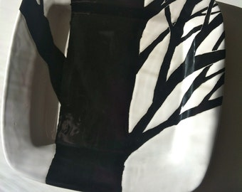 """After Christmas sale ! Black and white, Halloween decor,""""Twiggy"""" tree, branch, square ceramic serving, platter, tray, dish, plate by Jessica"""
