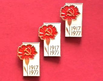 Carnation Pin. 1917-1977 Pin. Soviet propaganda. Communism. Vintage collectible childrens soviet pin badge, Made in USSR, 1977s