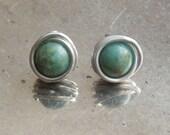 Amazonite stud earrings -...