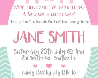 Custom Baby Elephant Girl Baby Shower Invitation DIGITAL FILE