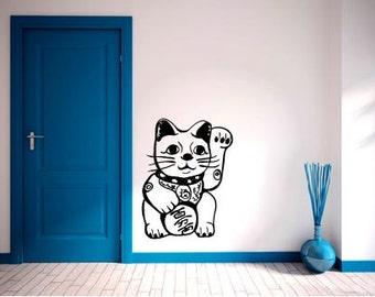 Lucky Japanese Cat vinyl wall decal - Maneki Neko Chinese, lucky asian cat
