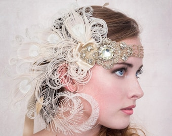 Flapper Headband Antique Gold Nymph Ivory Peacock Feather Headband, Gatsby Style