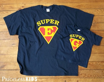 Matching father and son shirts, fathers day gift, Super dad shirt, super kid, personalized shirts, fathers day shirt, personalized gift