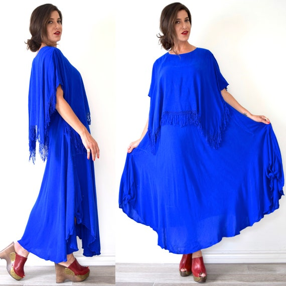 Vintage 70s Royal Blue Cotton Moroccan Fringe Free Size Tent Dress