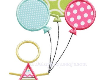 763 Balloon Girl Machine Embroidery Applique Designs